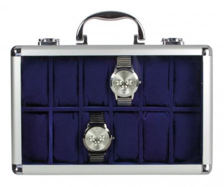 Valiza aluminiu pentru 12 ceasuri de mana, interior de velur Albastru - Clasic-265 [0]