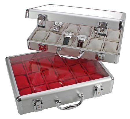 Valiza aluminiu pentru 18 ceasuri interior de catifea Gri - Extra-266-2 [0]