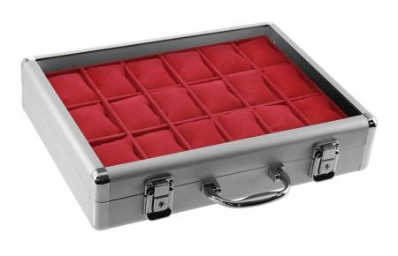 Valiza aluminiu pentru 18 ceasuri interior de catifea Rosie - Extra-266-1 [0]