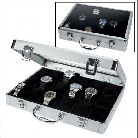 Valiza aluminiu pentru 18 ceasuri interior de catifea Neagra - Extra-266-3 [0]