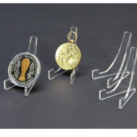 Suport triunghi, sticla acrilica, pentru monede medalii - 60 x 50 mm - 3 bucati-5270 [0]