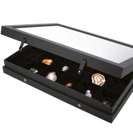 Vitrina Premium pentru miniaturi, lego, figurine, minerale, roci - 24 compartimente 65 x 58 mm - Black Edition-5676 [0]