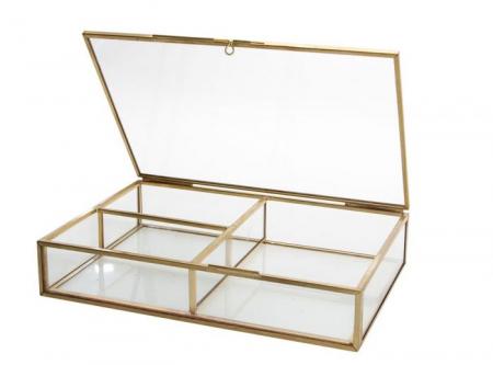 Cutie bijuterii din sticla cu rame din alama aurie-5700 [0]