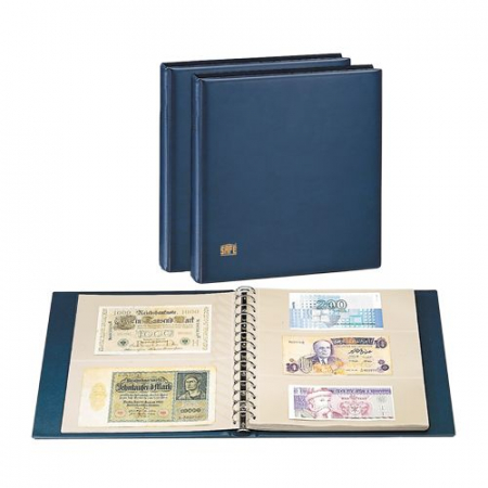 Album pentru bancnote cu 14 inele, 10 folii, 54 bancnote de pana la 250 x 145mm, coperta captusita-7351 [0]