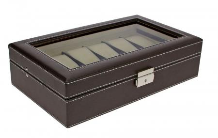 Cutie pentru ceasuri, piele sintetica granulata, geam de sticla si interior de catifea - Maro inchis-73630 [0]