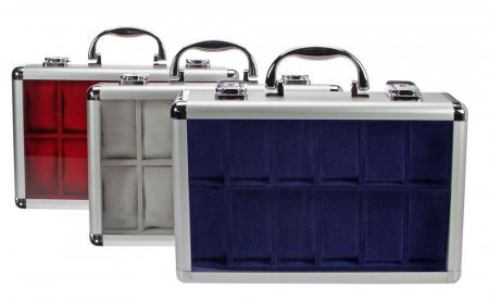 Valiza aluminiu pentru 12 ceasuri de mana, interior de velur Gri - Clasic-265-2 [1]