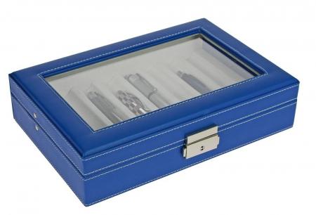 Cutie captusita, cusatura manuala, pentru stilouri, pixuri, instrumente de scris - Albastra-73628 [1]