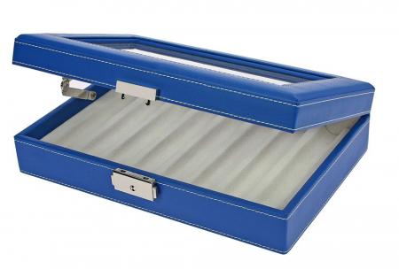 Cutie captusita, cusatura manuala, pentru stilouri, pixuri, instrumente de scris - Albastra-73628 [2]