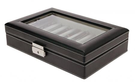 Cutie captusita, cusatura manuala, pentru stilouri, pixuri, instrumente de scris - Neagra-73627 [1]