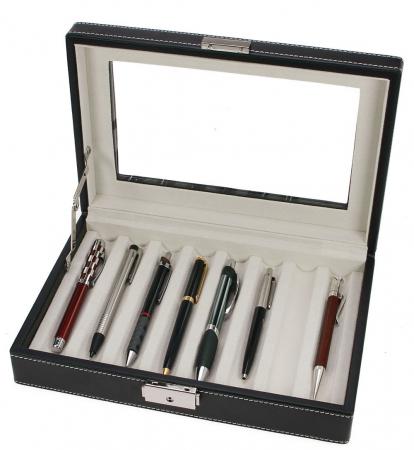 Cutie captusita, cusatura manuala, pentru stilouri, pixuri, instrumente de scris - Neagra-73627 [3]