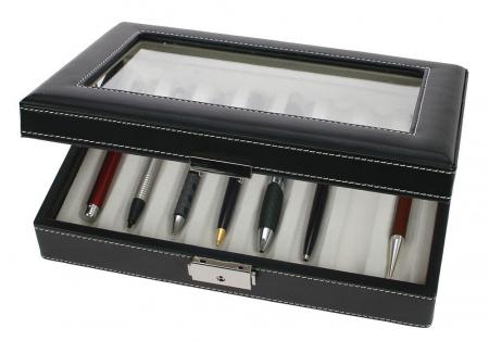 Cutie captusita, cusatura manuala, pentru stilouri, pixuri, instrumente de scris - Neagra-73627 [0]