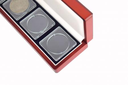 Cutie pentru monede, lemn de mahon, spuma cu memorie in catifea albastra pentru monede-7911 [5]
