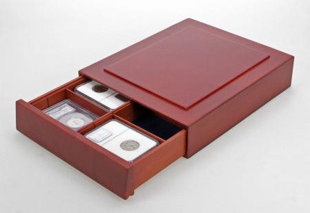 Cutie din lemn, Nova Exquisite, cu compartimente reglabile pentru pietre, minerale, figurine, bijuteri, coin slabs, NCG, PCGS-6880 [0]