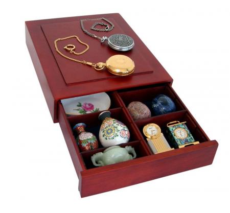 Cutie din lemn, Nova Exquisite, cu compartimente reglabile pentru pietre, minerale, figurine, bijuteri, coin slabs, NCG, PCGS-6880 [3]