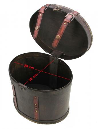 Cutie din lemn, ovala, capac cu bretele de piele rosie - Maxi-3148 [1]