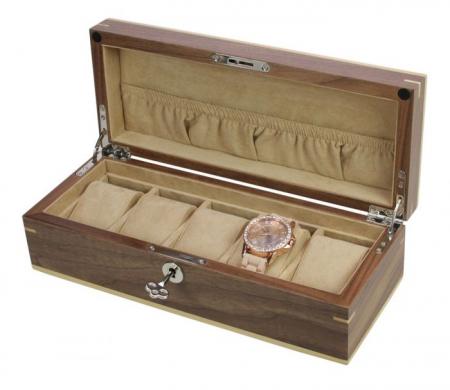 Cutie pentru 5 ceasuri lemn Copenhaga cu furnir de nuc-3020 [0]