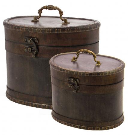 Cutie pentru bijuterii, lemn oval, capac cu maner de alama si inchidere cu carlig - Mare-3149 [0]