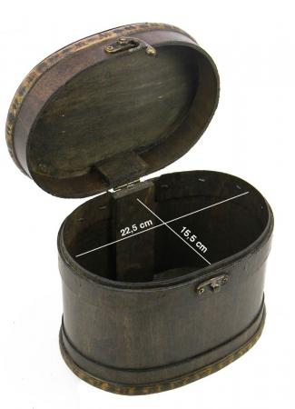 Cutie pentru bijuterii, lemn oval, capac cu maner de alama si inchidere cu carlig - Mare-3149 [1]
