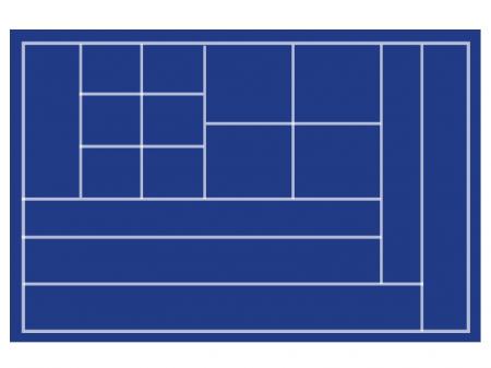 Tava pentru monede, 332 x 235 mm, in catifea albastra, locasuri mixte-257 [0]