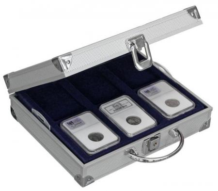 Valiza pentru monede in capsule slabs NCG PCGS cu 4 tavi in catifea albastra-217 [0]
