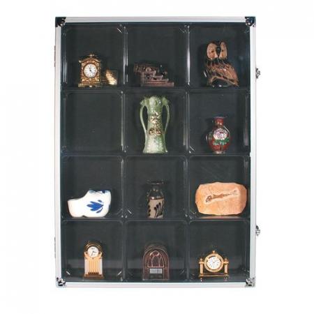 Vitrina aluminiu, 12 locasuri 87 x 90 mm, pentru figurine, roci, fosile, minerale, miniaturi, lego-5875 [0]