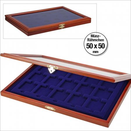 Vitrina din lemn pentru 15 monede in capsule patrate sau cartonase de 50 x 50 mm-SAFE5846 [1]