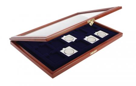 Vitrina din lemn pentru 15 monede in capsule patrate sau cartonase de 50 x 50 mm-SAFE5846 [0]