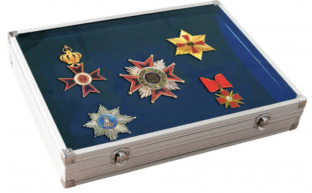 Vitrina din aluminiu pentru medalii, insigne de rever decoratiuni militare 395 x 300 x 65 mm - Alu-Big-5881SP [0]