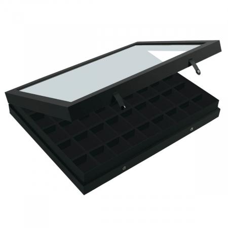 Vitrina Premium pentru miniaturi, lego, figurine, minerale, roci - 45 compartimente 36 x 49 mm - Black Edition [2]