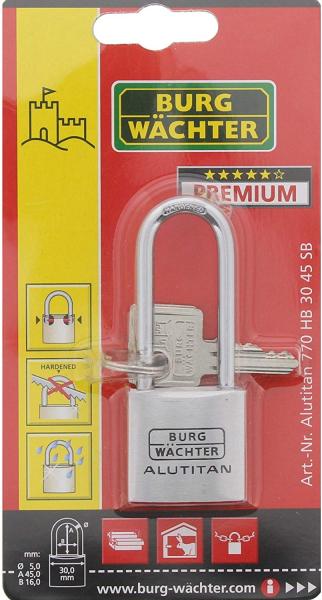 Lacat aluminiu Alutitan 770 HB 30 45 SB inchidere cheie 6