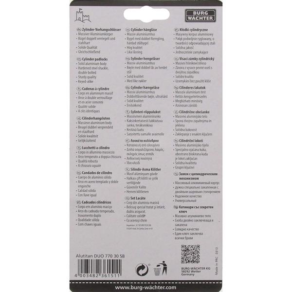 Set 2 lacate aluminiu Alutitan DUO 770 30 SB inchidere cheie 6