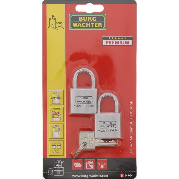 Set 2 lacate aluminiu Alutitan DUO 770 30 SB inchidere cheie 7