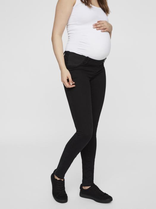 Blugi gravide cu insertii elastice Mamalicious Lola negri 3