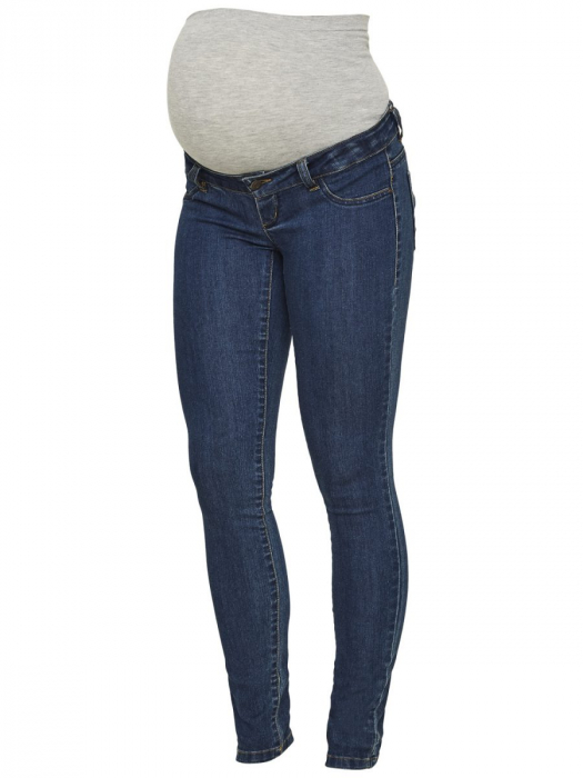 Blugi gravide Mamalicious Julia Slim albastru inchis 4