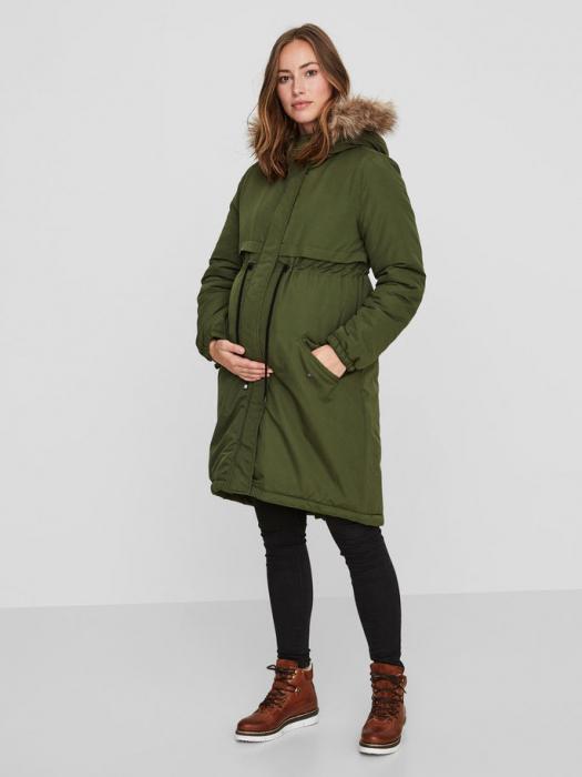 Geaca parka pentru gravide Mamalicious New Jessie verde 0