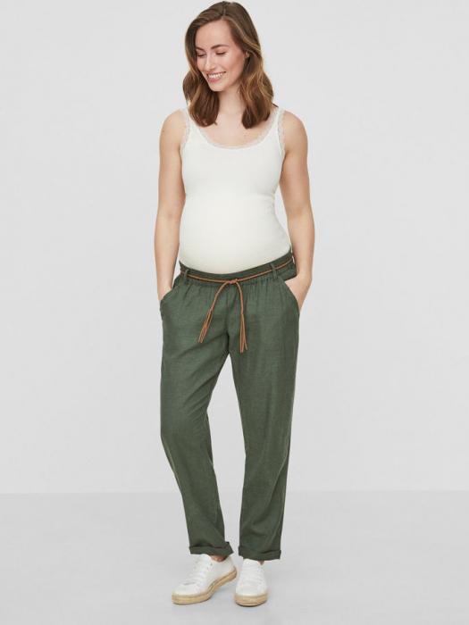 Pantaloni pentru gravide Mamalicious Beach din in - verde 0