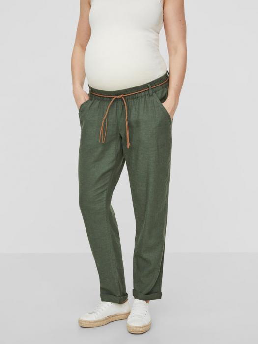 Pantaloni pentru gravide Mamalicious Beach din in - verde 1