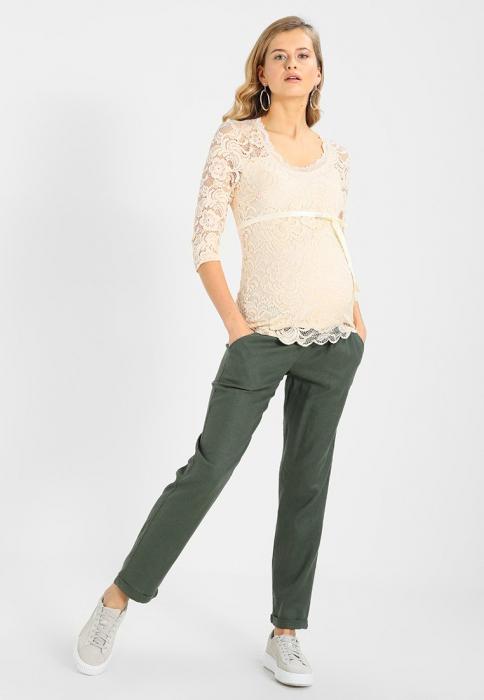 Pantaloni pentru gravide Mamalicious Beach din in - verde 6