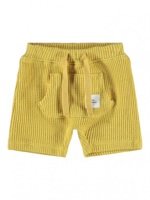 pantaloni-scurti-bebe-bumbac-organic-din-vafe-baieti-name-it-hardy-ochre [0]