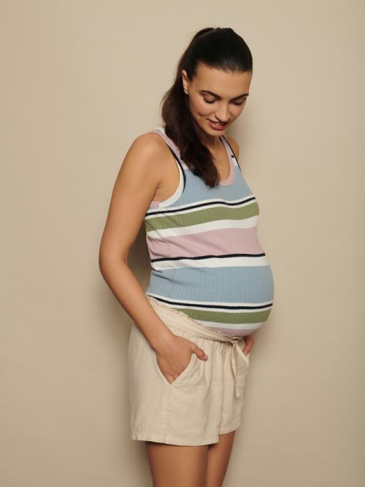 pantaloni-scurti-din-in-pentru-gravide-mamalicious-linen 0