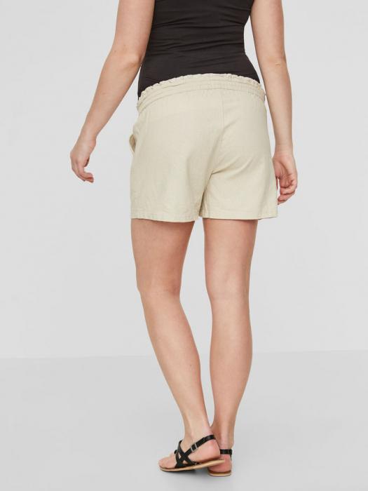 pantaloni-scurti-din-in-pentru-gravide-mamalicious-linen 3