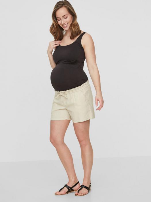 pantaloni-scurti-din-in-pentru-gravide-mamalicious-linen 1
