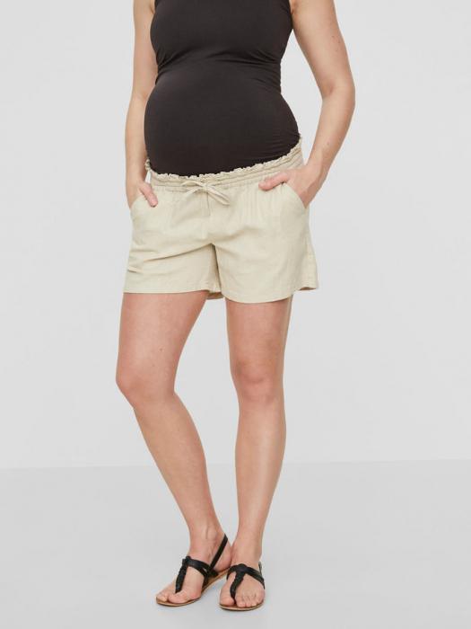 pantaloni-scurti-din-in-pentru-gravide-mamalicious-linen 2