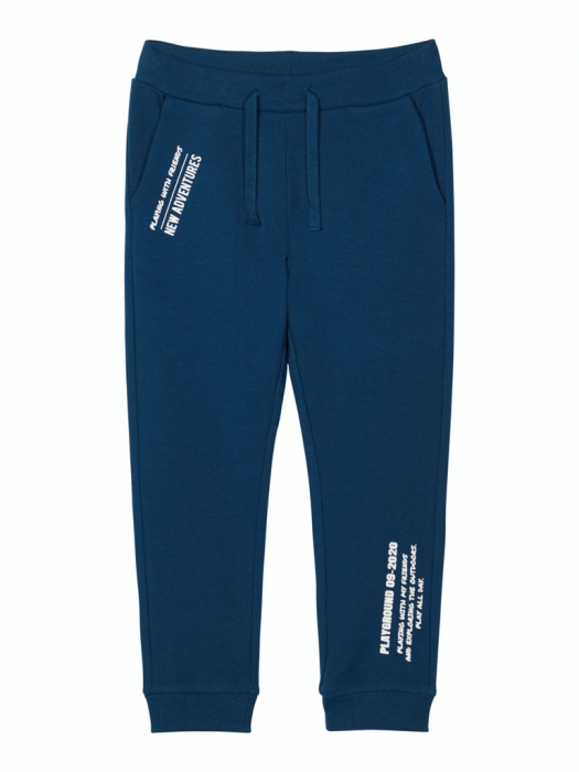 pantaloni-trening-copii-bumbac-organic-baieti-name-it-lanis-albastru 0