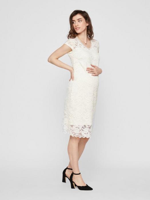 rochie-cu-maneca-scurta-pentru-cununie-mamalicious-snow-white 0