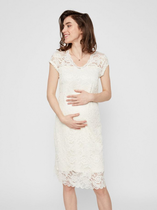 rochie-cu-maneca-scurta-pentru-cununie-mamalicious-snow-white 1