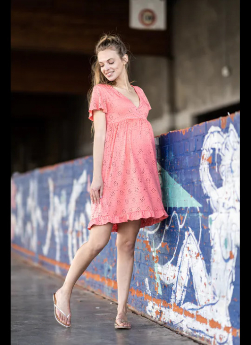 rochie-gravide-si-alaptare-mamalicious-denise-coral 0