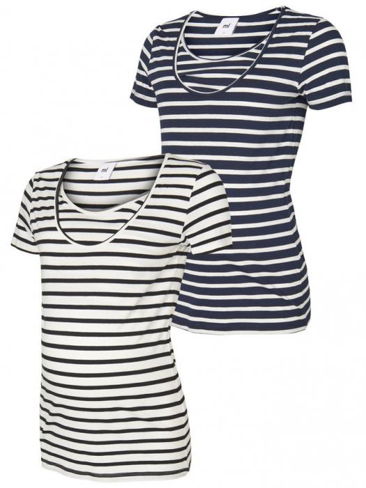 Set 2 tricouri navy pentru gravide si alaptare Mamalicious Nell 0