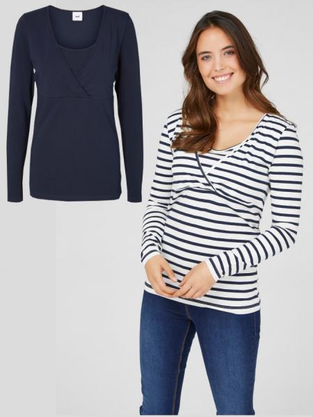 set-bluze-alaptare-din-bumbac-organic-tess-albastru-marin-alb 0