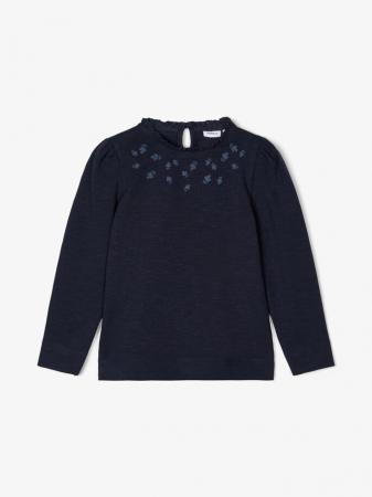 Bluza copii, bumbac organic, fete - Name It Thura Sapphire0